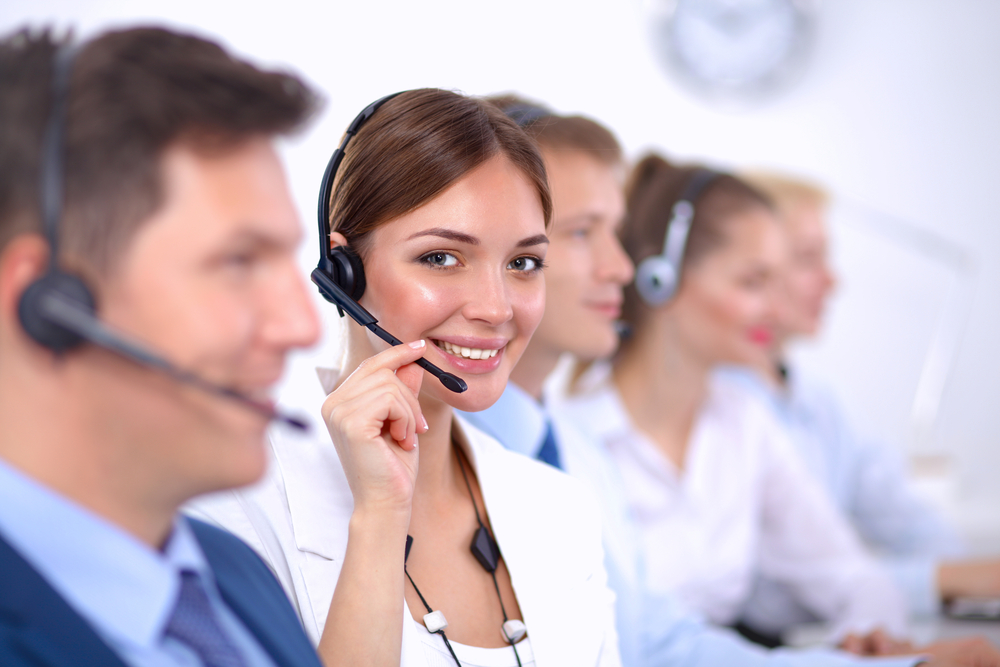 Smiling customer service representative.